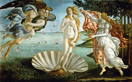 Botticelli's Birth of Venus with Venus emerging from a clam shell