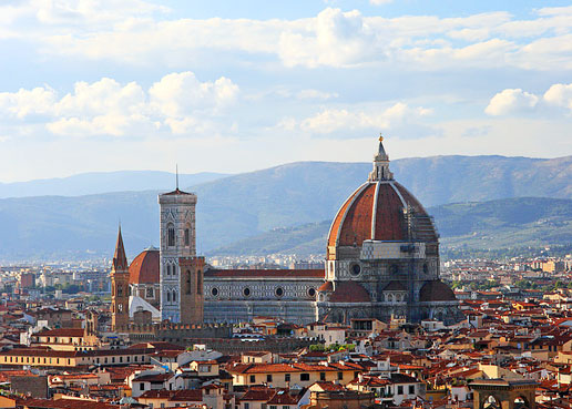 The city of Florence, Itay with the Duomo dominating