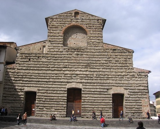 The plain facade of the Church of San Lorenzo, Florence Italy