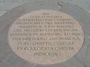 Savonarola's brass plaque of his death in Florence Italy.