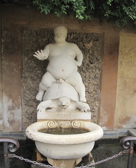 The statue of Bacchino in the Boboli Gardens of the Pitti Palace, Florence
