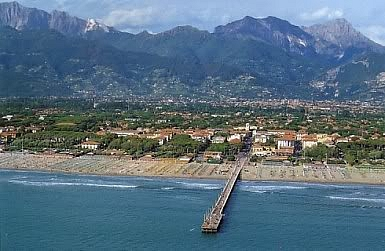 Forte Dei Marmi with the pier, sea and mountains