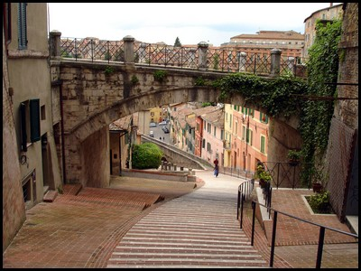A Roman aqueduct in Perugia now used as a walkway.