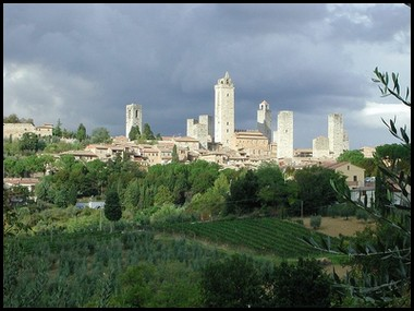 The Towers of San Gimignano seen from vineyards