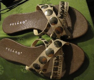Beige and brown sandals made in Pesaro