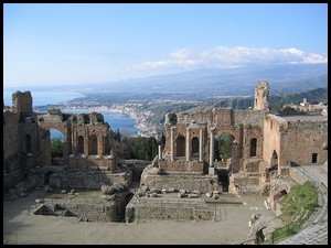 Taormina, Sicily, Italy with the Mediterranean Sea in the background.