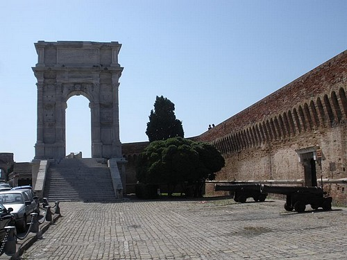 The Arch of Trajan in Ancona with city wall and cannons