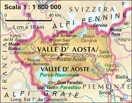 A Detailed Map of Aosta Italy