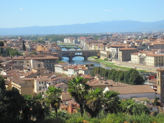 Arno River showing 3 of the 5 bridges of Florence Italy