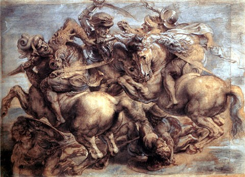 Painting of the Battle of Anghiari by Paul Rubens