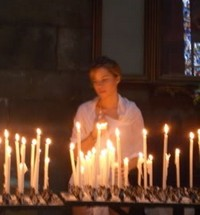 Lighting candles for the Festa Madonna della Salute, Venice Italy10