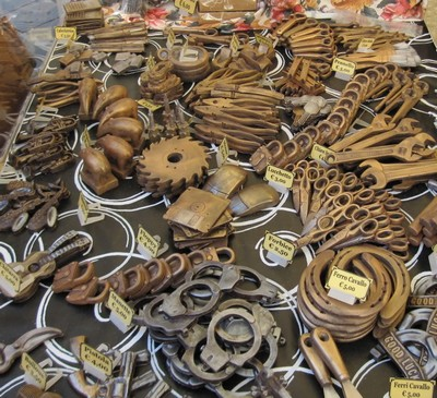 chocolate festival florence with taipers, locks, pliers etc all made from chocolate