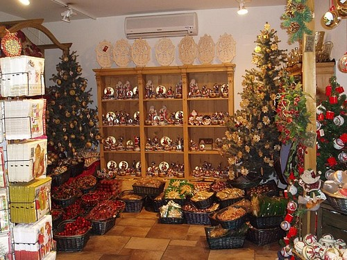 Christmas in Italy with a shop display.