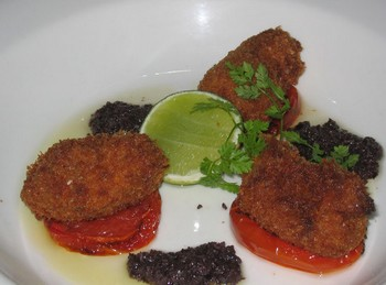 fried brains with tapenade