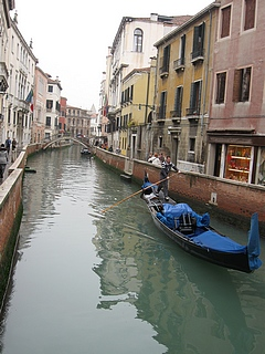 the scene outside our hotel window of a small canal in Venice, Italy