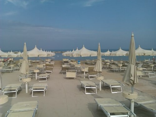 Cupra Marittima Beach in Le Marche with umbrellas and loungers
