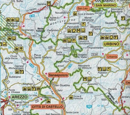 Detailed map of location of Anghiari