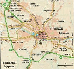Map of city bypass for Florence