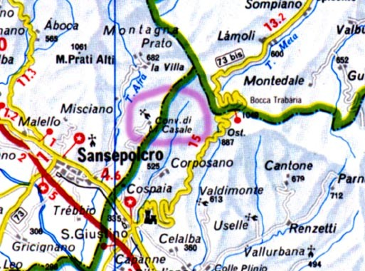 Location map for convent montecasale in Sansepolcro
