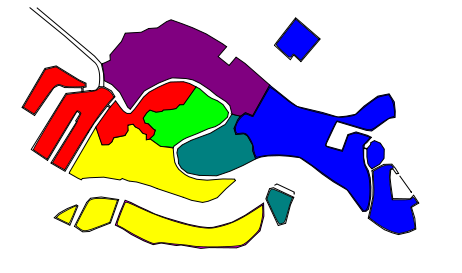 color-coded map of the 6 districts of Venice