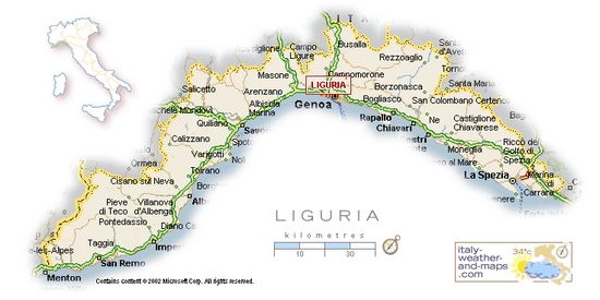 A Detailed Map of Liguria Italy