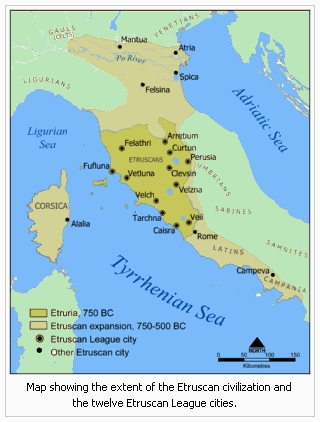 Map showing the extent of the Etruscan civilization