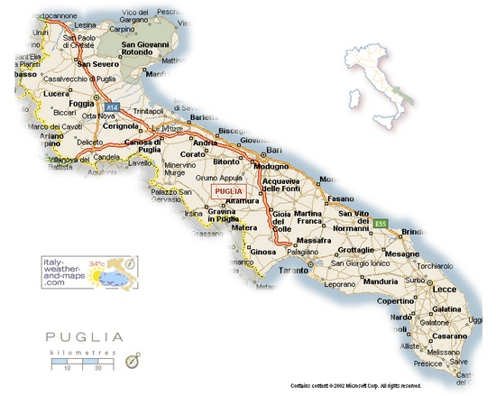 Map Of Italy East Coast.A Detailed Map Of Puglia Italy