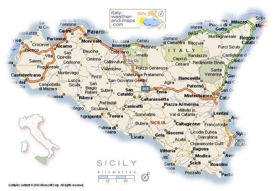 A Detailed Map Of Sicily Italy
