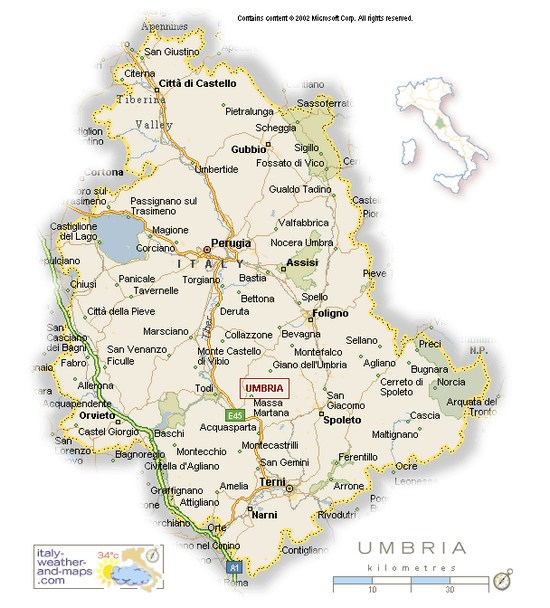 A Detailed Map of Umbria Italy