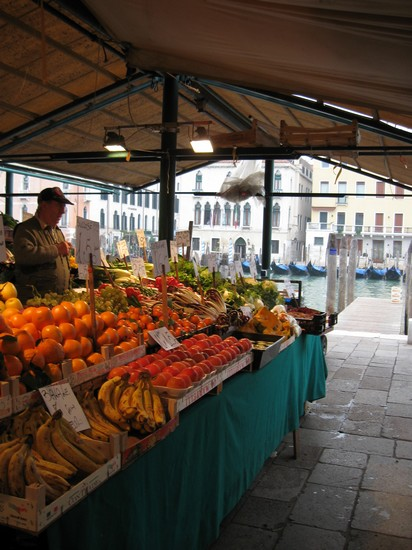 a market stall with fruit and vegetables in Venice Italy