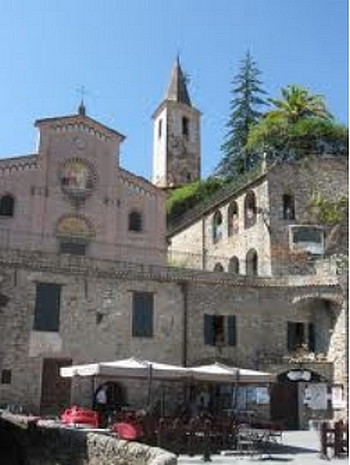One side of the main piazzas in Apricale, Italy