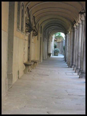 Ancient covered walkway in Poppi, Tuscany