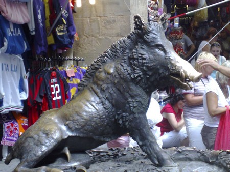 The bronze boar statue outside the Central Market of Florence