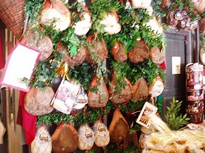 Prosciutto hanging up in the Central Market, Florence2