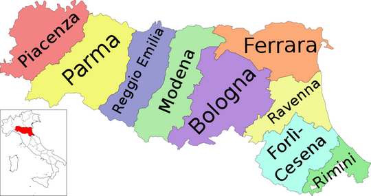 A Detailed Map of EmiliaRomagna Italy