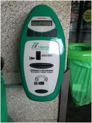A green validation machine for tain tickets in Italy.
