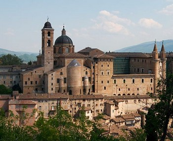 The Ducale Palace in Urbino from a distance
