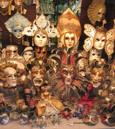 a collection of Venetian masks worn at the masked ball of Verona