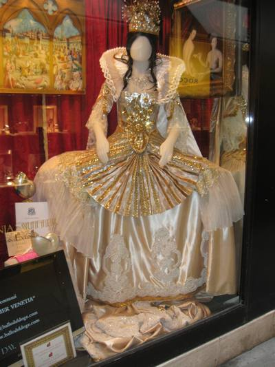 a venice carnival dress in a shop window