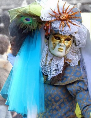 A masked Venetian at the Venice Carnival Italy
